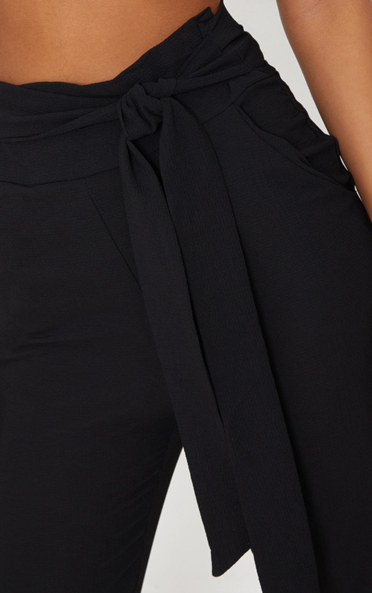 Black Pebble Crepe Tie Waist Cigarette Pants 5