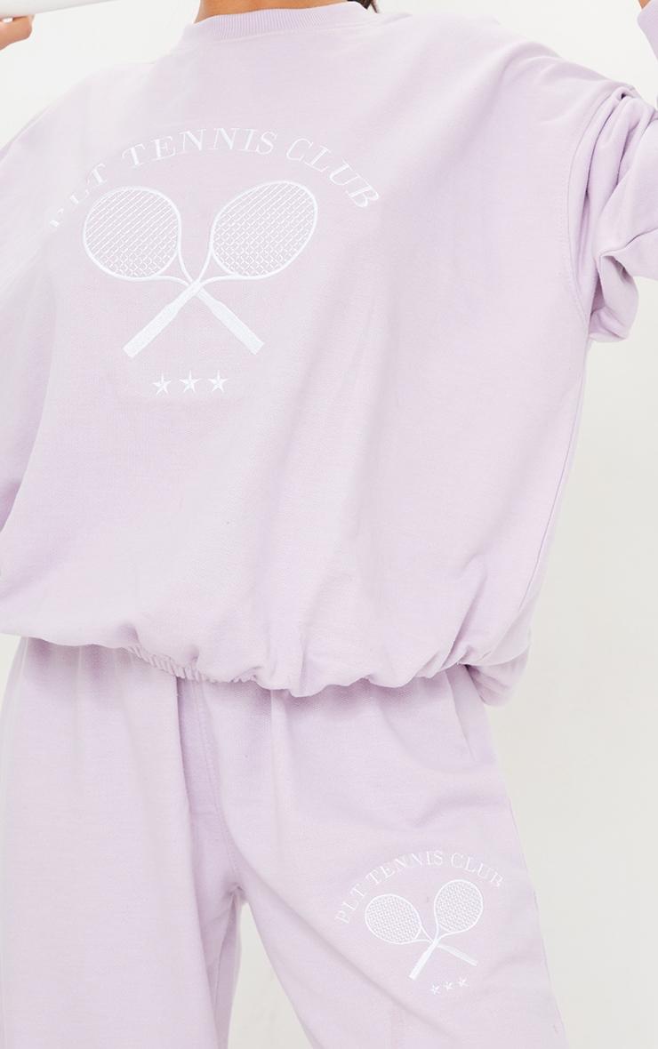 PRETTYLITTLETHING Petite Lilac Tennis Club Oversized Sweat 4