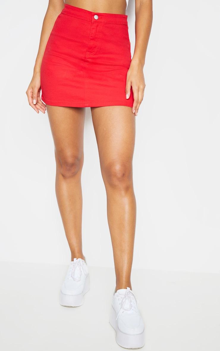Red Disco Fit Denim Skirt 2