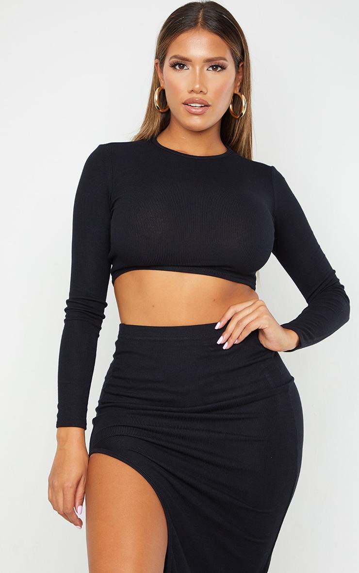 Shape Black Soft Rib Long Sleeve Crop Top 1
