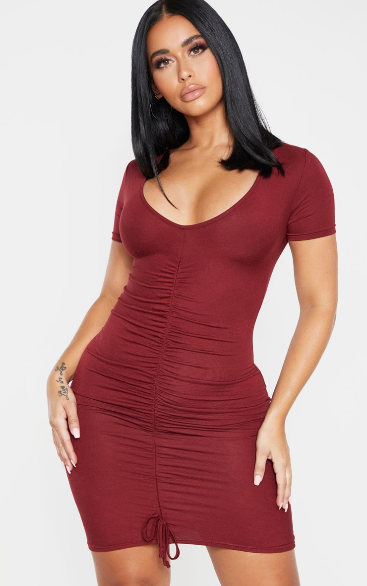 Shape Burgundy Jersey Ruched Cap Sleeve Dress  1