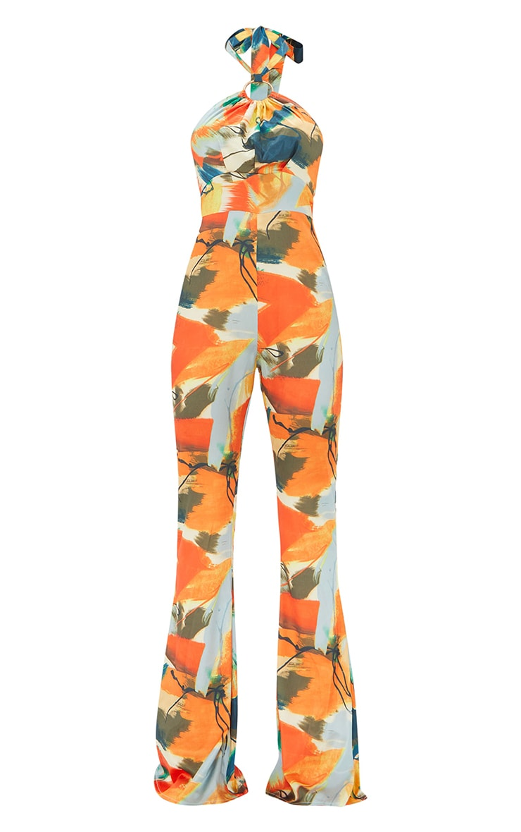 Multi Abstract Print Ring Detail Halterneck Jumpsuit 5
