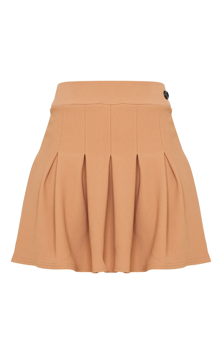 Camel Pleated Side Split Tennis Skirt 3