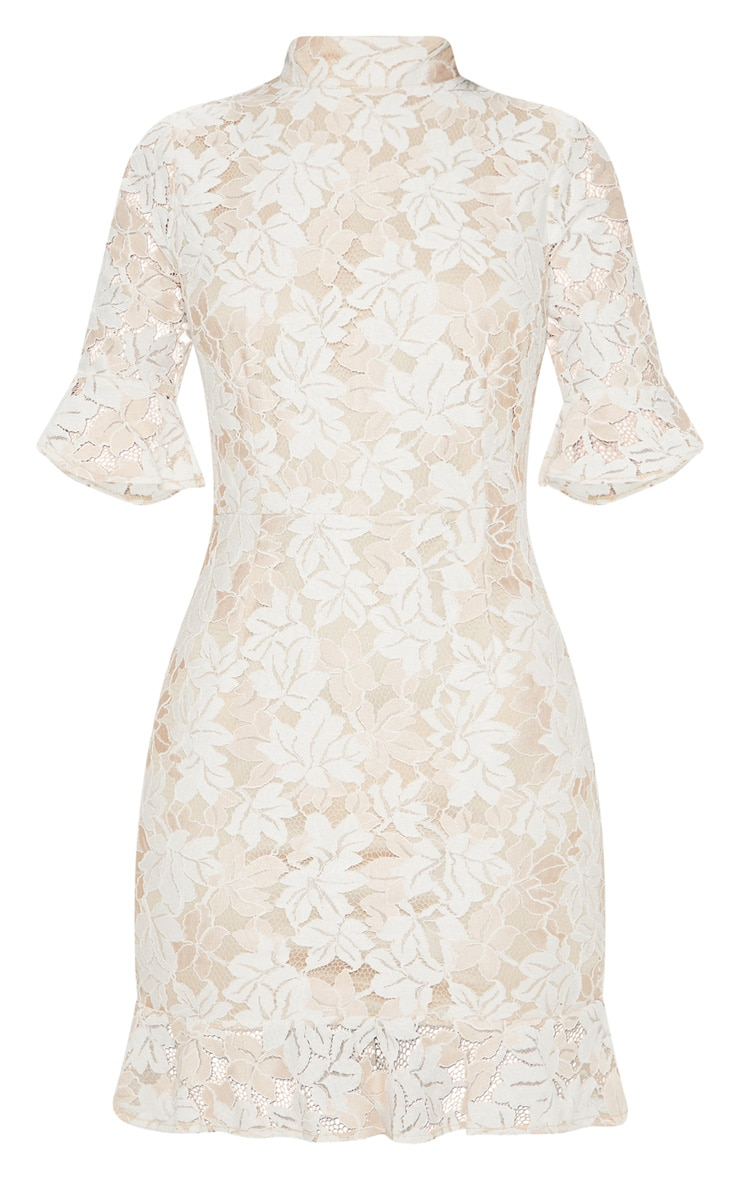Nude Lace Frill Sleeve High Neck Bodycon Dress 3