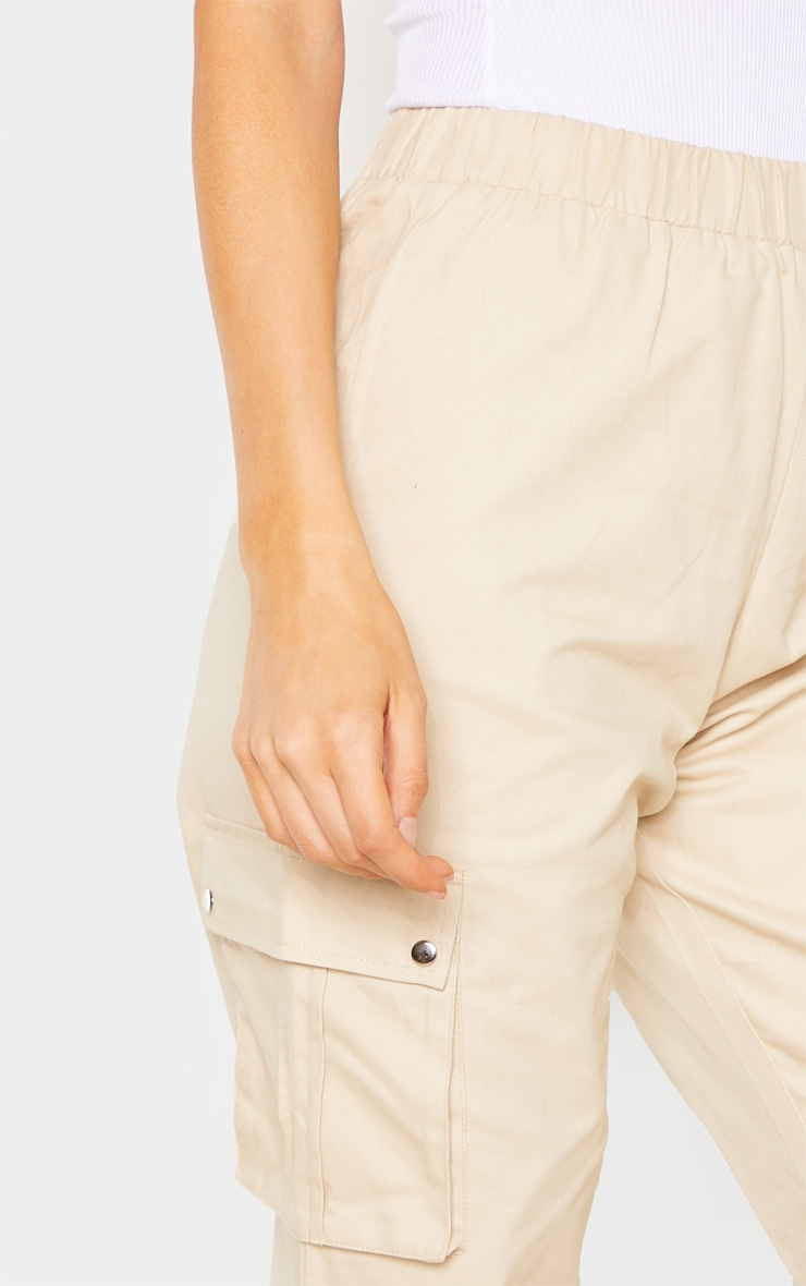 Tall Cream Pocket Detail Cargo Pants 5