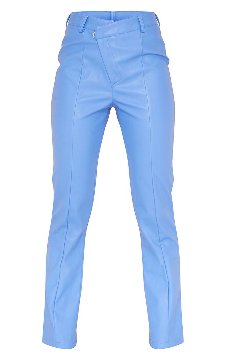Pantalon droit en similicuir bleuet à taille en V 5