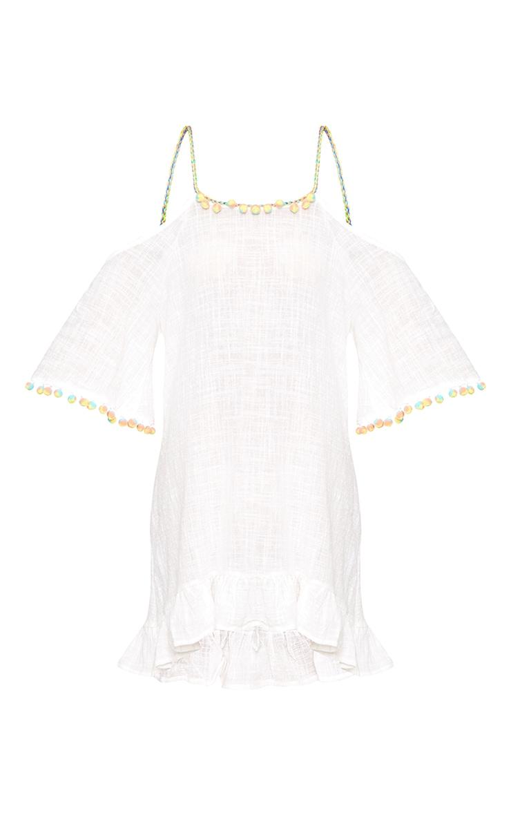 White Pom Pom Trim Mini Dress 3