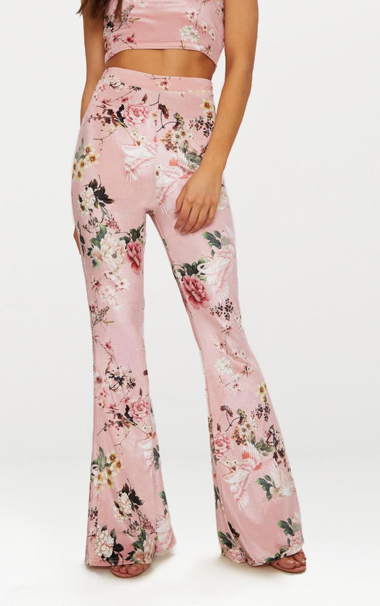 Petite - Pantalon flare en velours nude à imprimé floral 2