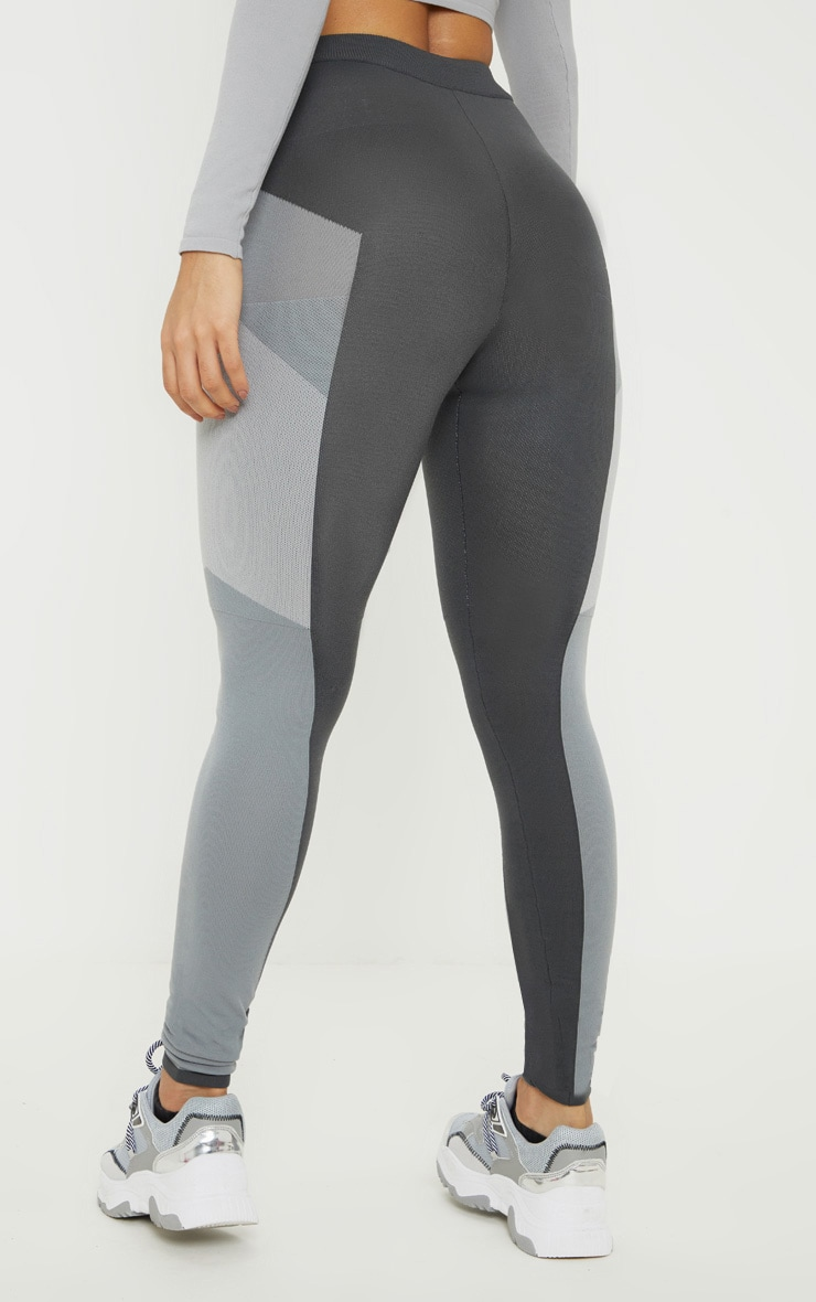 Grey Seamless Knit Panelled Gym Legging 4