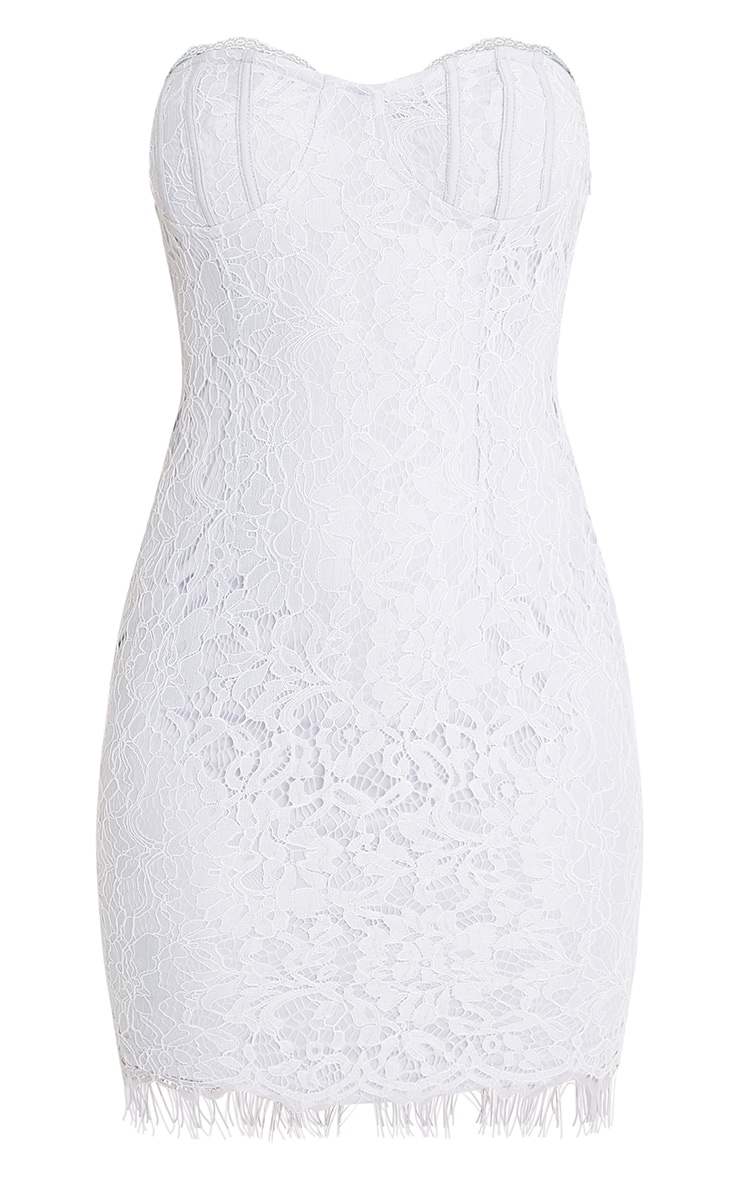 Kreena Grey Lace Bandeau Bodycon Dress 3