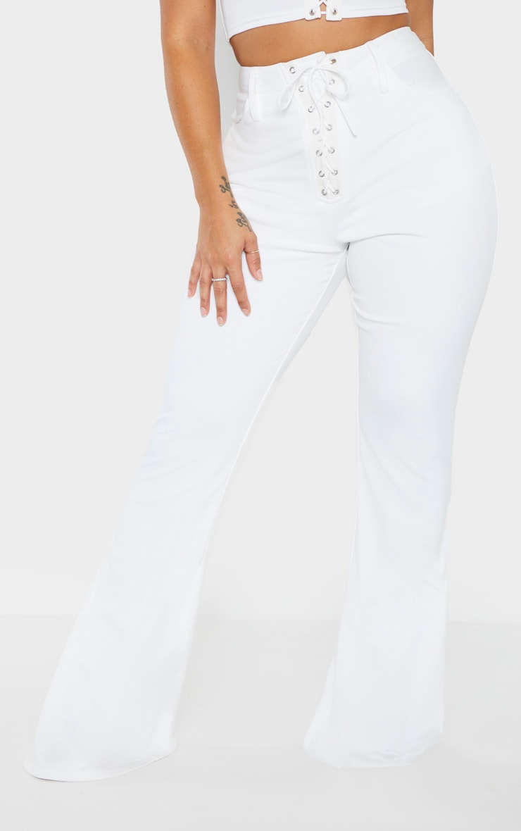 Shape White Lace Up Front Flared Trouser 2