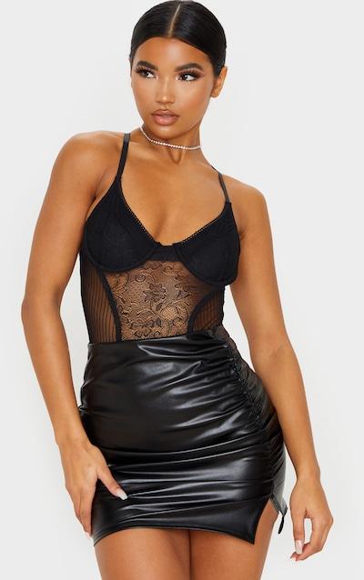 Black Coated Ruched Split Mini Skirt