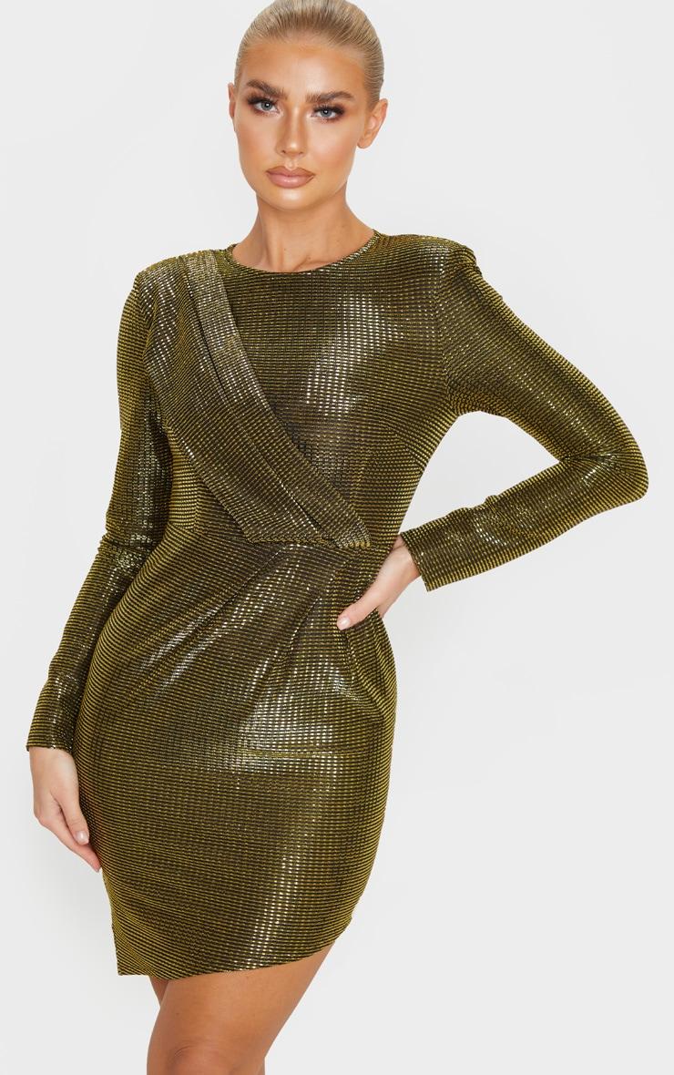 Gold Metallic Glitter Long Sleeve Drape Detail Bodycon Dress 1