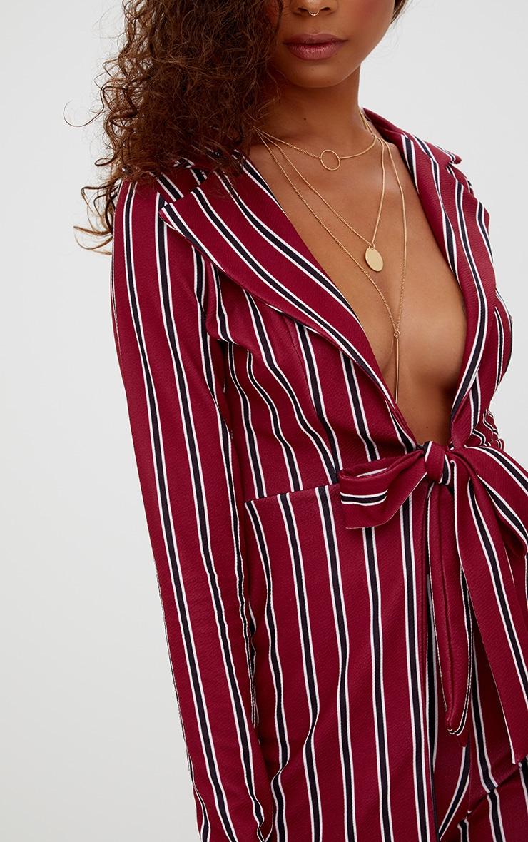 Petite Burgundy Stripe Belt Detail Blazer 5