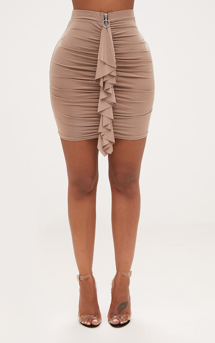 Shape Taupe Ruched Zip Front Mini Skirt  2