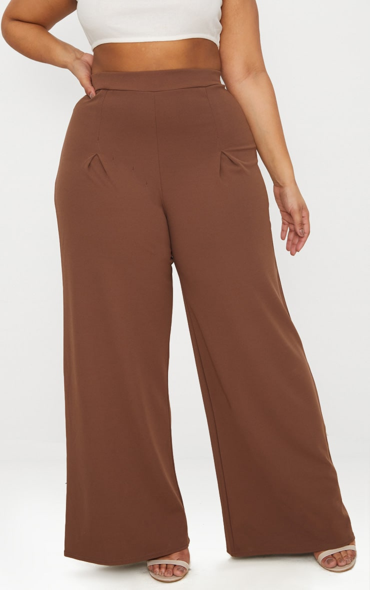 Taupe Plus Pleat Front Wide Leg Trousers  2