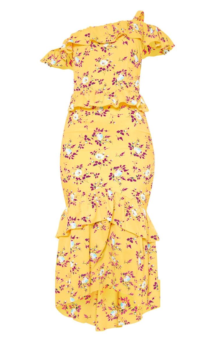 Yellow Floral Print One Shoulder Chiffon Midi Dress 3
