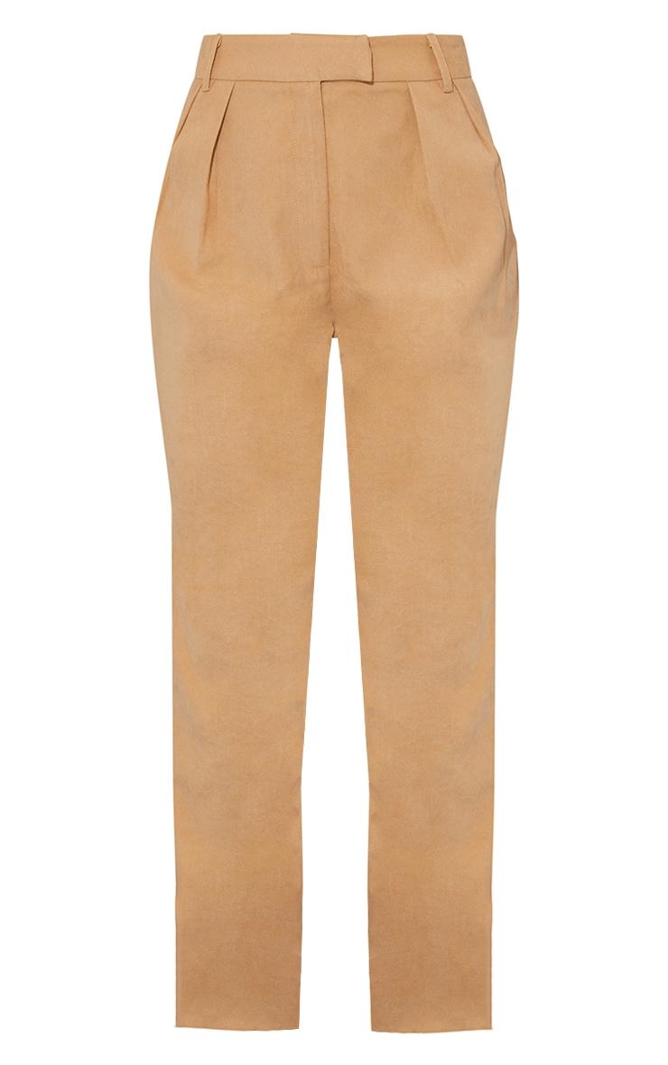 Tan Premium Twill Blend Straight Leg Trousers 5