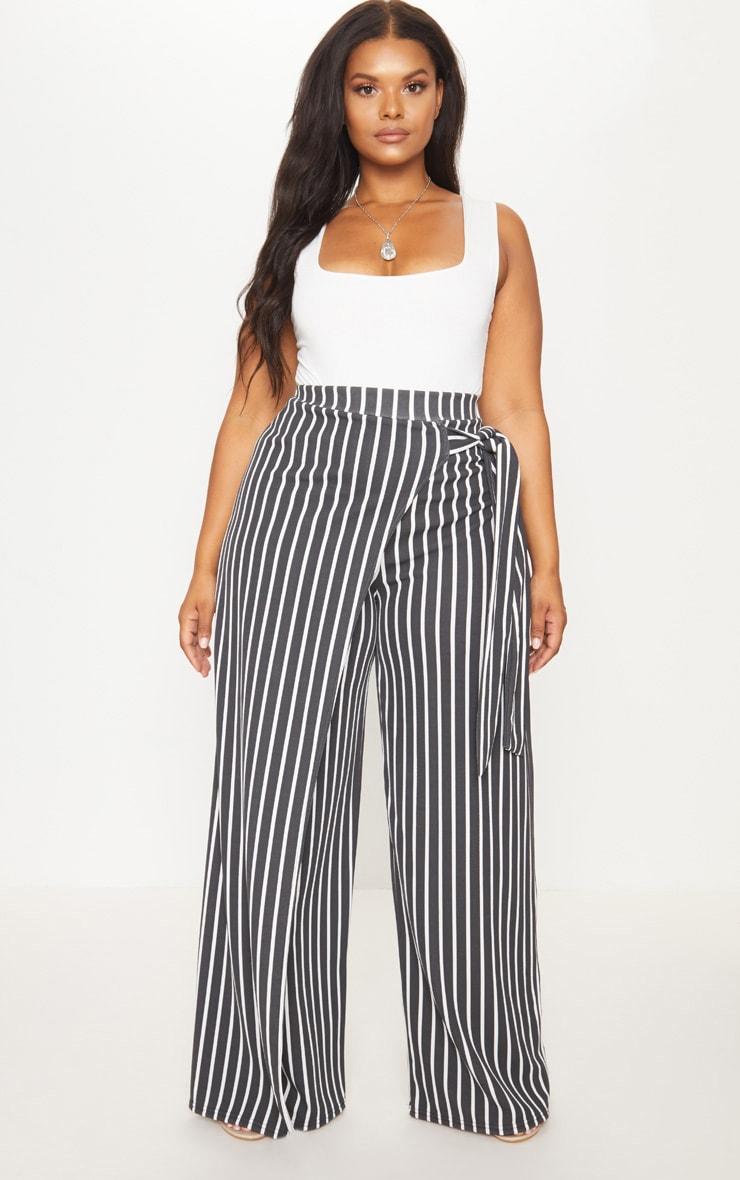 Plus Black Striped Wrap Detail Extreme Wide Leg Pants 1