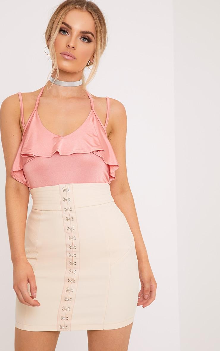 Avelina Pink Slinky Choker Frill Thong Bodysuit 1