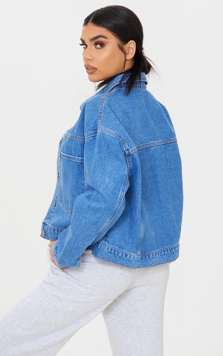 Mid Blue Wash Pocket Detail Oversized Denim Crop Jacket 2