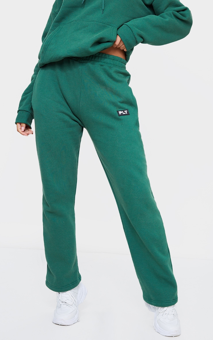 PRETTYLITTLETHING Forest Green Badge Detail Straight Leg Joggers 2