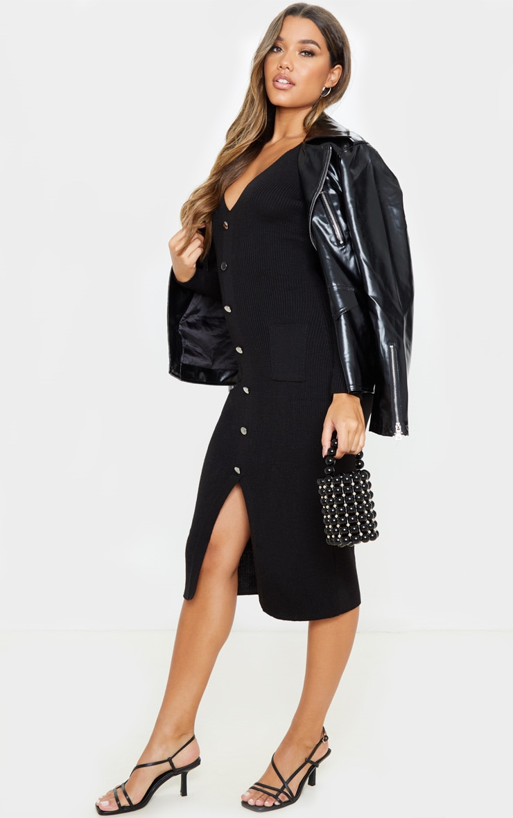 Black Button Front Knitted Midi Dress 4