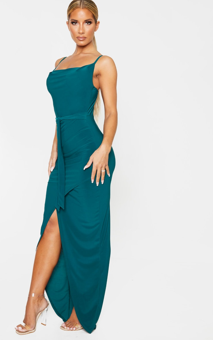 Emerald Green Cowl Neck Tie Waist Maxi Dress 4