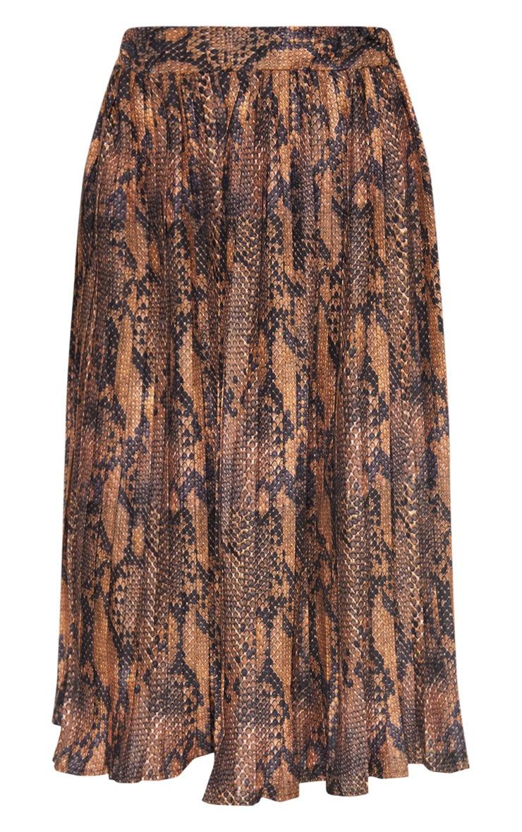 Snake Printed Pleat Midi Skirt 3