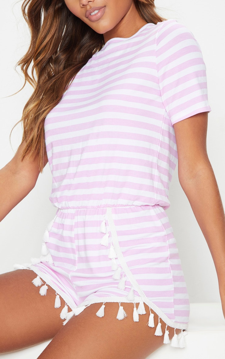 Pink Striped Tassel Trim Romper 5