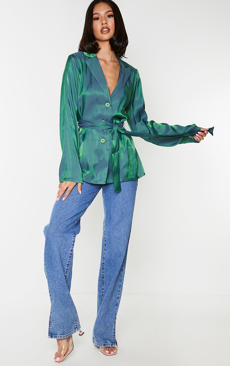 Green Metallic Tie Front Collared Long Sleeve Shirt 3