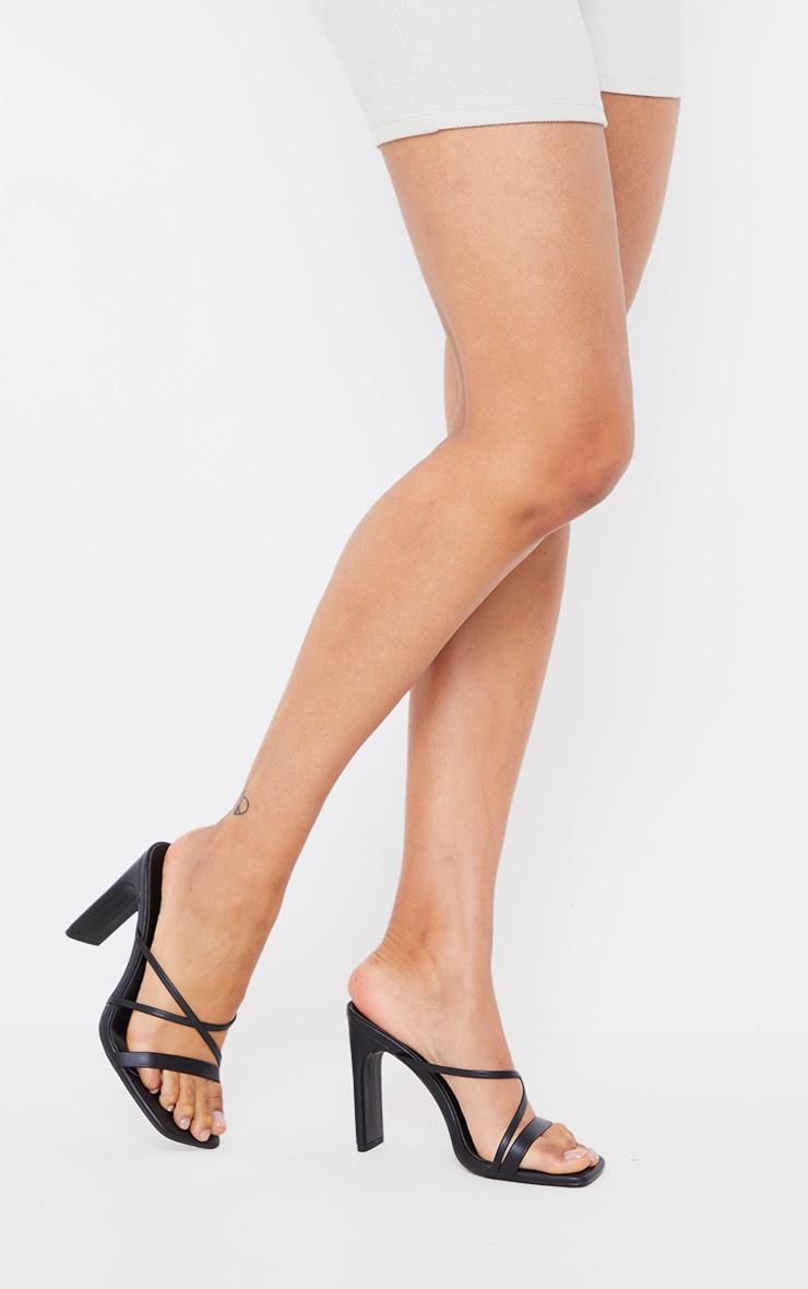 Black Wide Fit Asymmetric Strappy High Flat Block Heel Mules 2