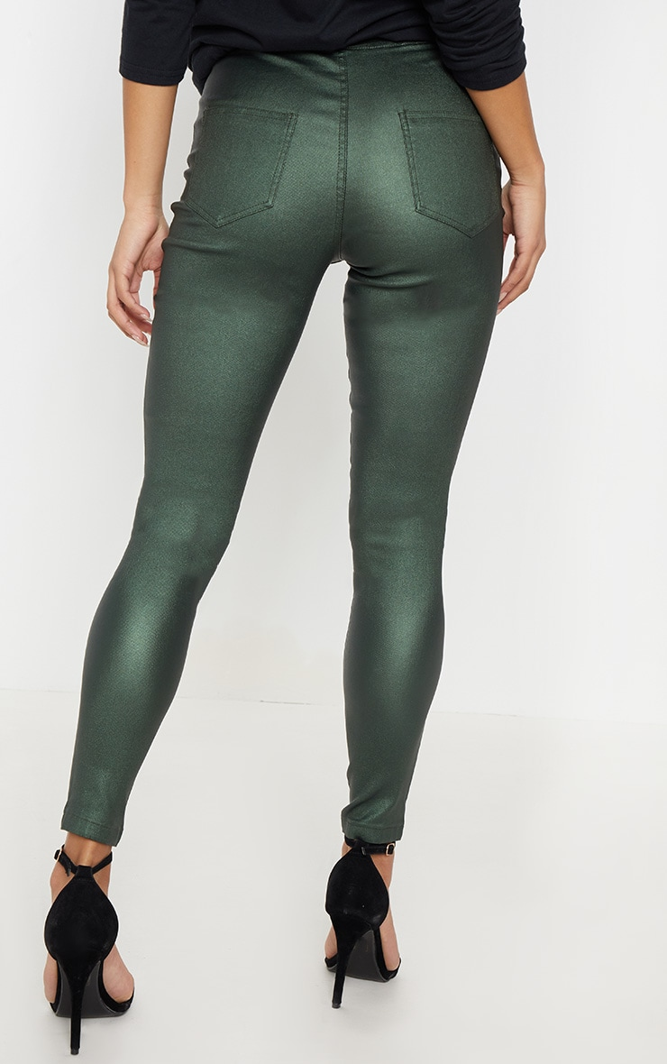 Khaki Coated Denim Skinny Jeans  4