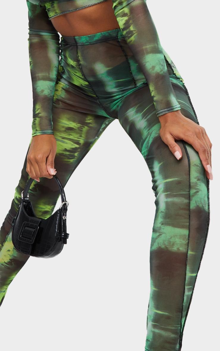 Green Abstract Water Colour Print Sheer Mesh Binding Long Sleeve Crop Top 4