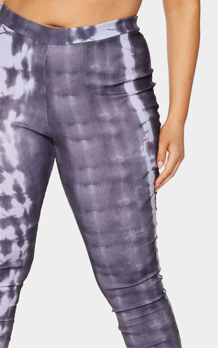 Plus Black Tie Dye Rib Split Hem Leggings 4