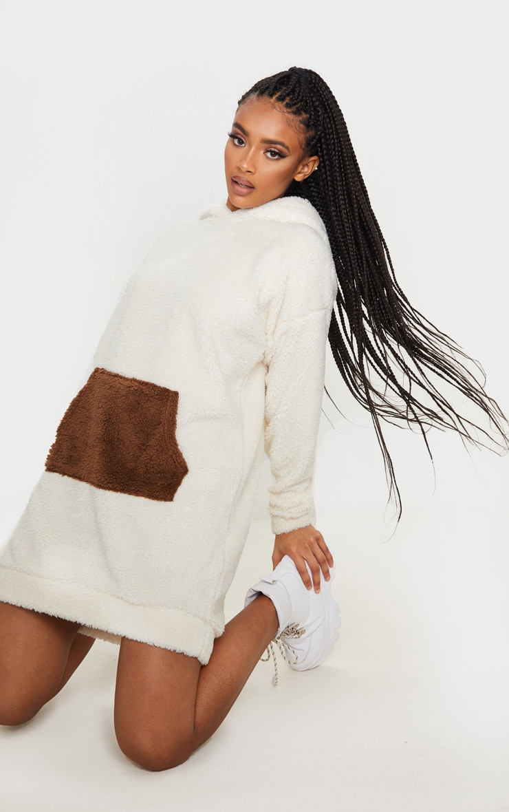 Camel Contrast Pocket Front Borg Hoodie Jumper Dress 4