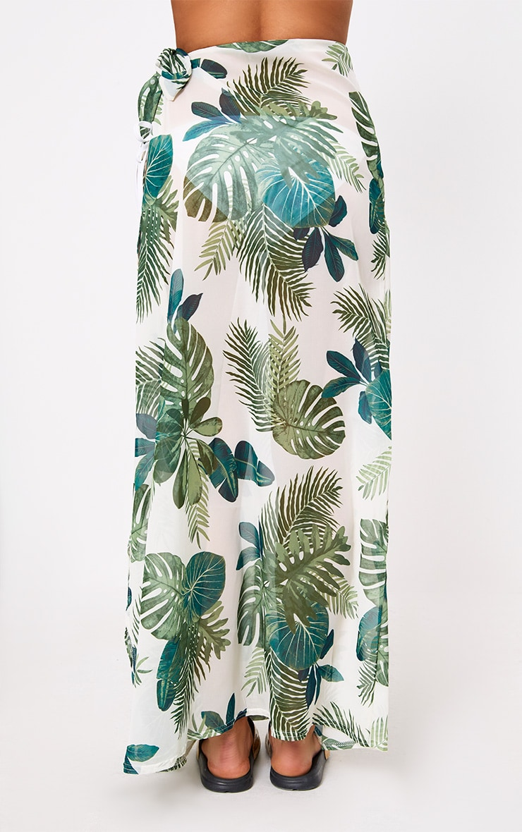White Chiffon Palm Print Beach Maxi Skirt 4