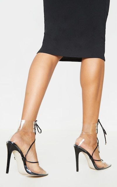 Black Clear Ghillie Lace Up Court Shoe