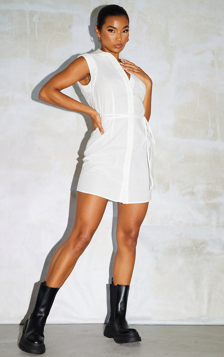 White Linen Polo Collar Wrap Tie Sleeveless Shirt Dress 1