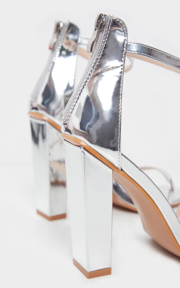 Silver Square Toe High Block Heel Sandal 5