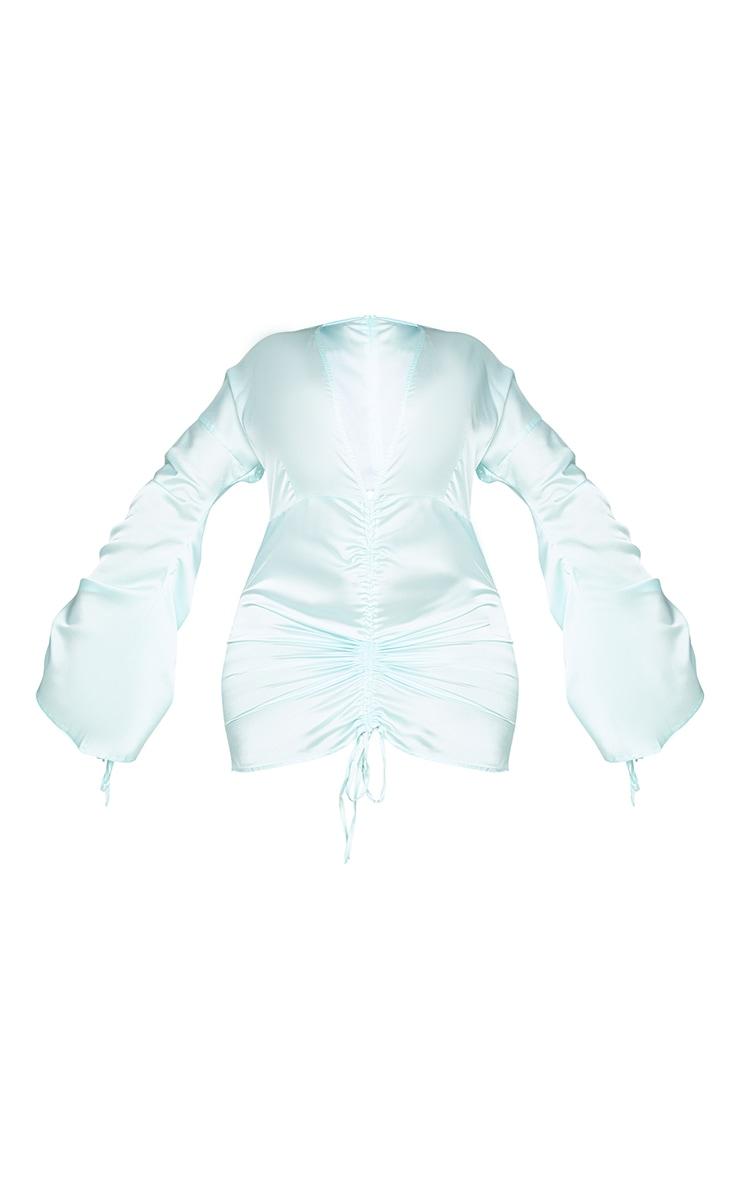 Plus Mint Satin Plunge Ruched Front Dress 5