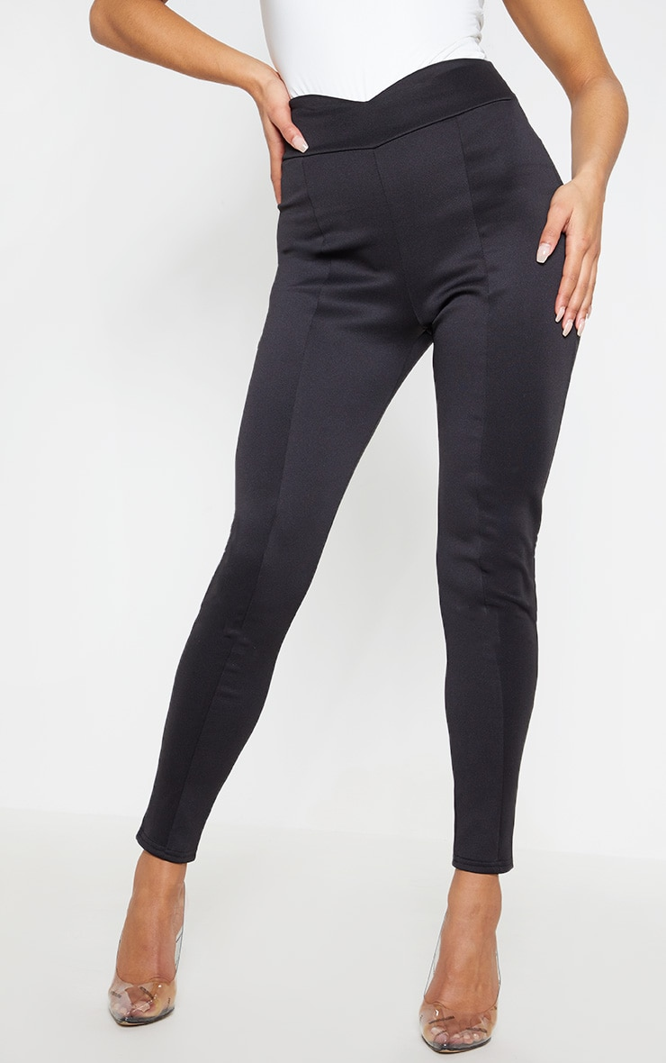 Black Scuba High Waisted V Detail Seamed Legging 3