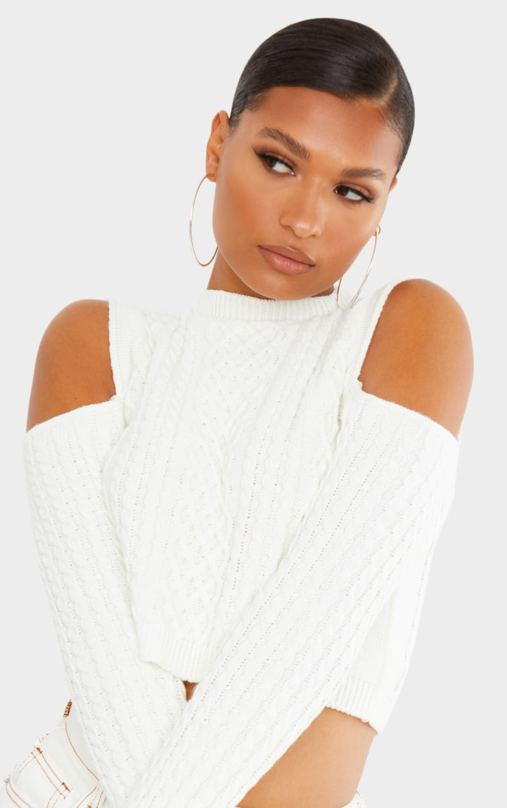 Cream Cable Cropped Cut Out Shoulder Jumper 3
