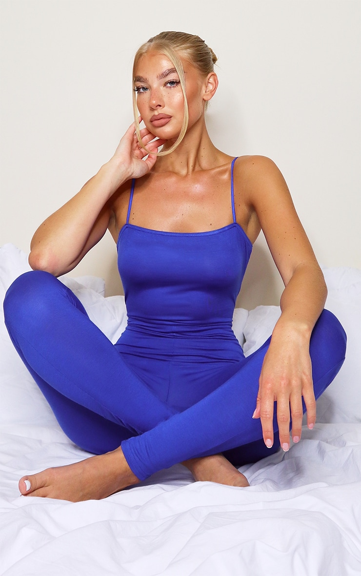 Blue Basic Strappy Jumpsuit 1