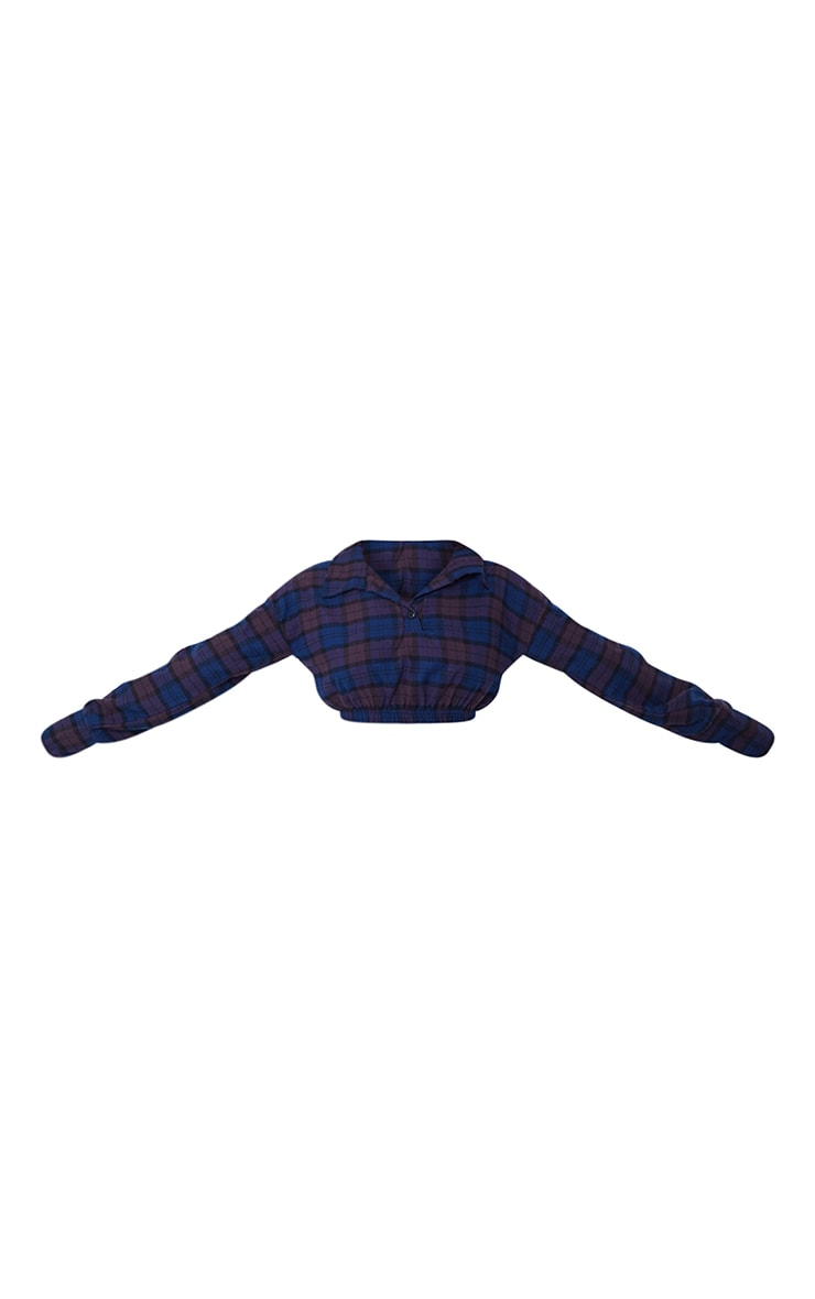 Navy Flannel Check Button Up Elasticated Crop Shirt 5
