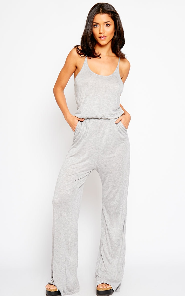Esme Grey Jersey Wide Leg Jumpsuit 1