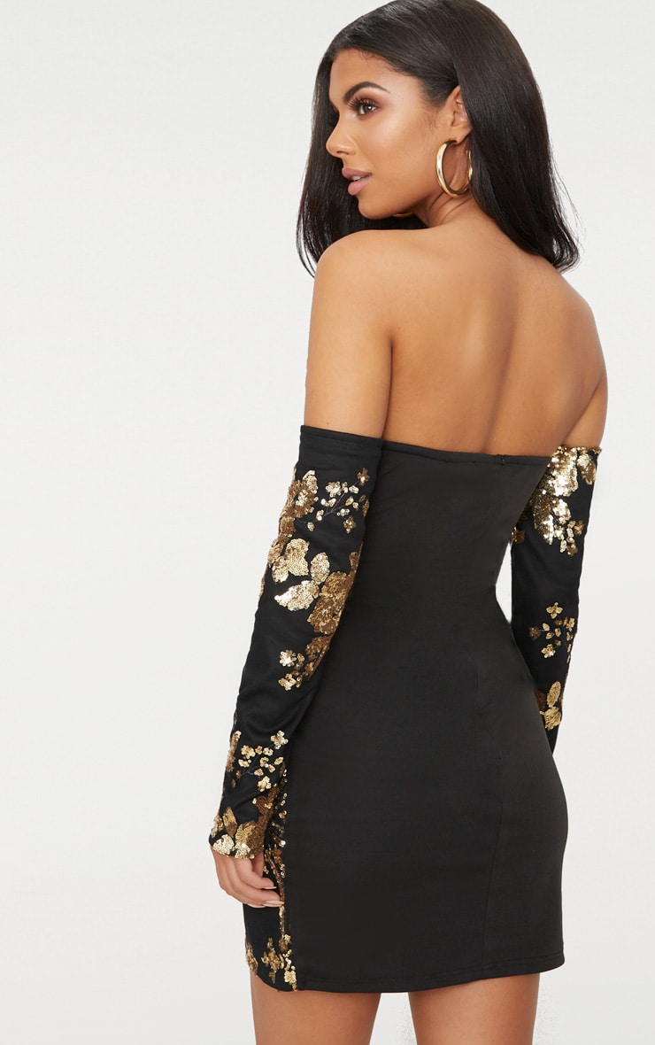 Black Floral Sequin Bardot Bodycon Dress 2