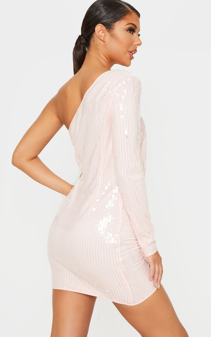 Baby Pink Sequin One Shoulder Bodycon Dress  2