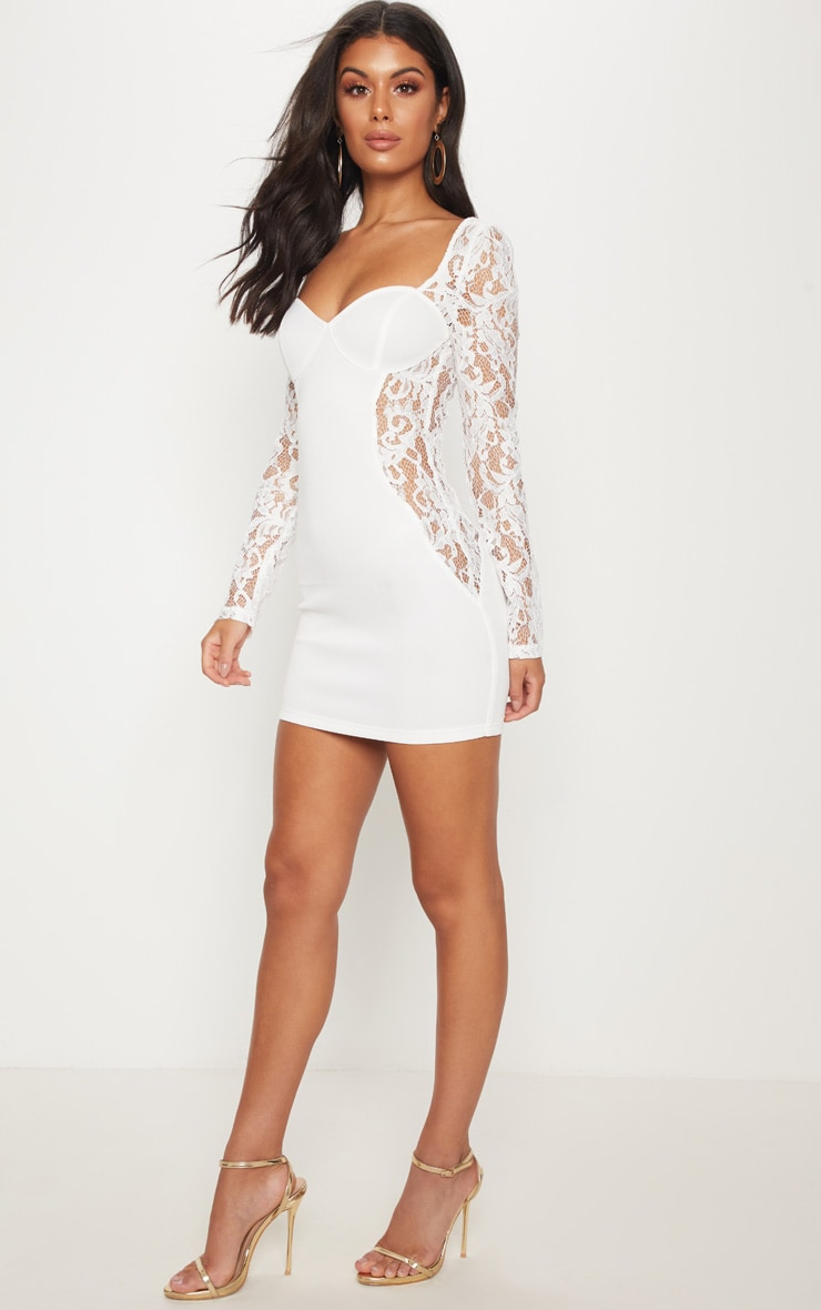 White Lace Insert Cup Bodycon Dress 4