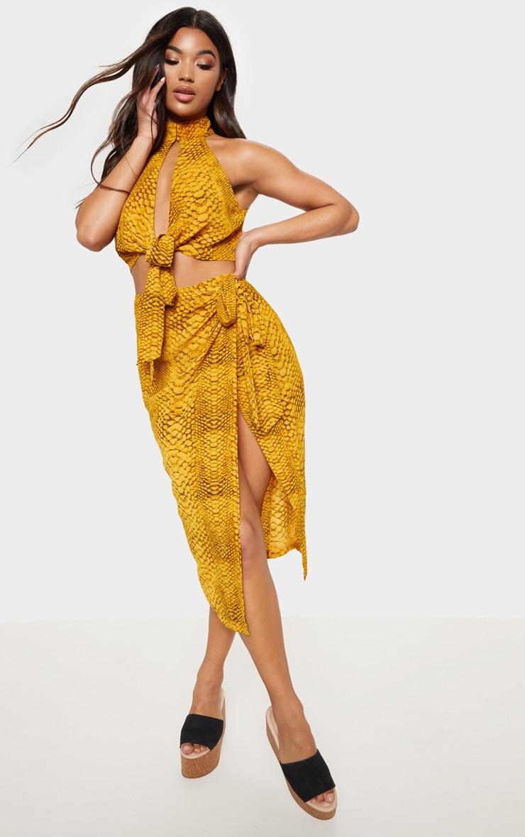 Mustard Snake Print Tie Side Midi Skirt 1